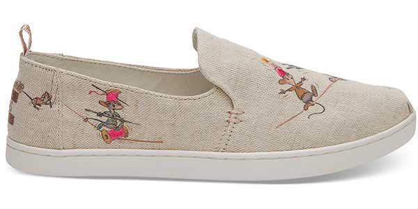 taupe Cinderella mice printed fabric TOMs shoe