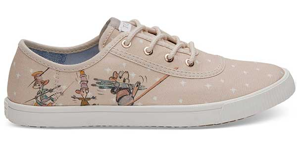 taupe Cinderella mice themed fabric TOMs shoe