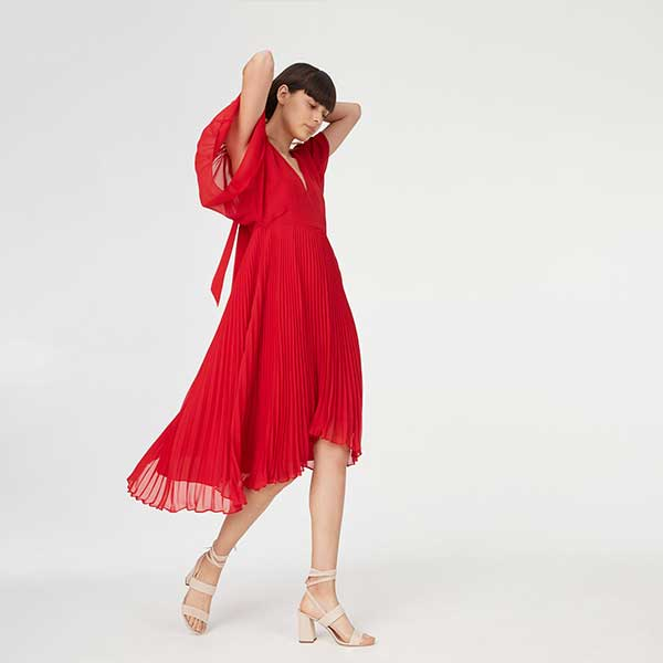 Red, pleated dress.