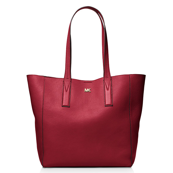 Red large leather tote bag