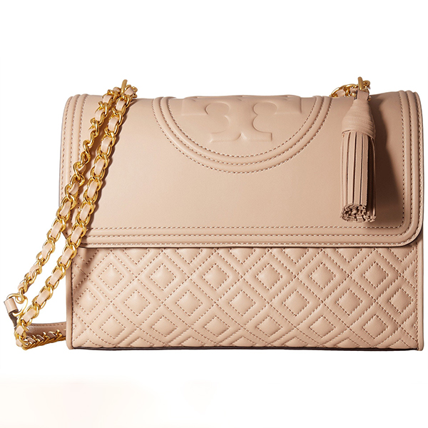 Mink pink Tory Burch handbag with gold chain strap and tassel