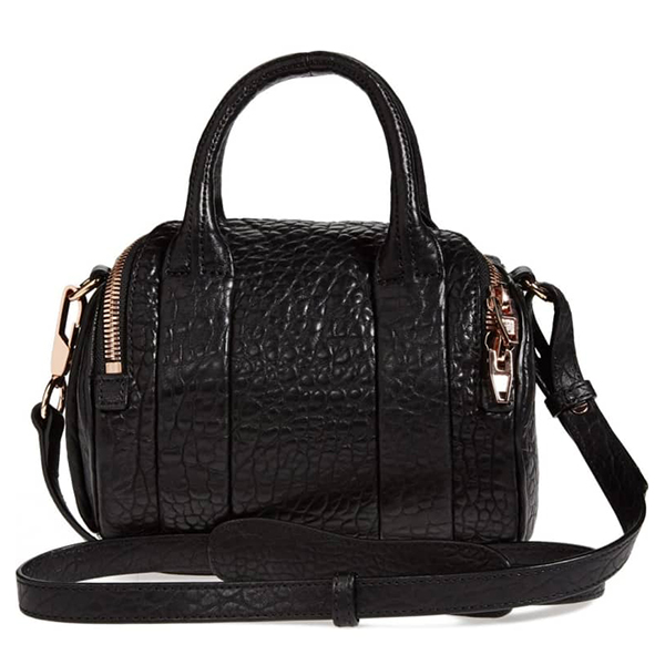 Black lambskin leather Alexander Wang crossbody hand bag with rose gold hardware