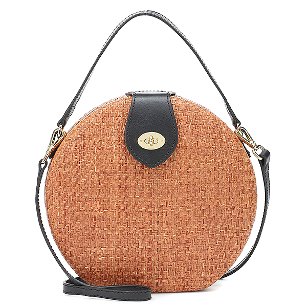 Kayu round shoulder bag with gold fastening & turn-lock closure with black leather top handle and strap