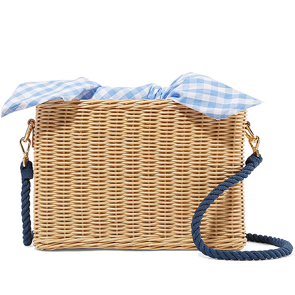 Kayu wicker shoulder bag and blue and white gingham cotton lining