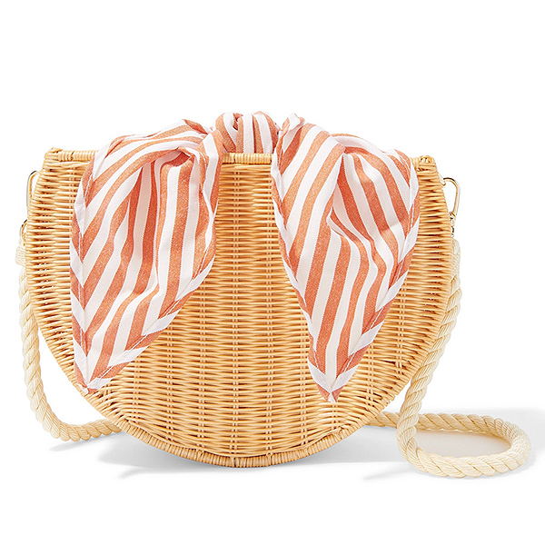 Kayu rounded bottom, wicker shoulder bag with rope strap and striped white and orange cotton lining