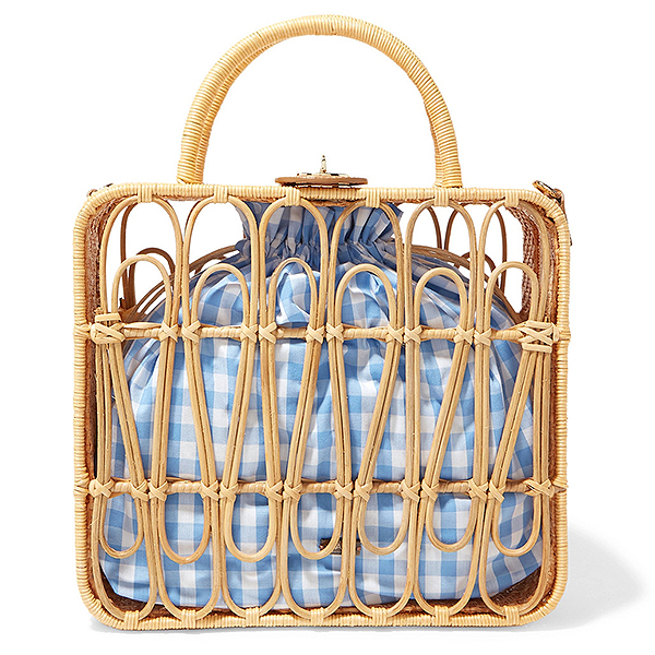 Kayu leather-trimmed rattan tote with a blue and white gingham cotton tote lining