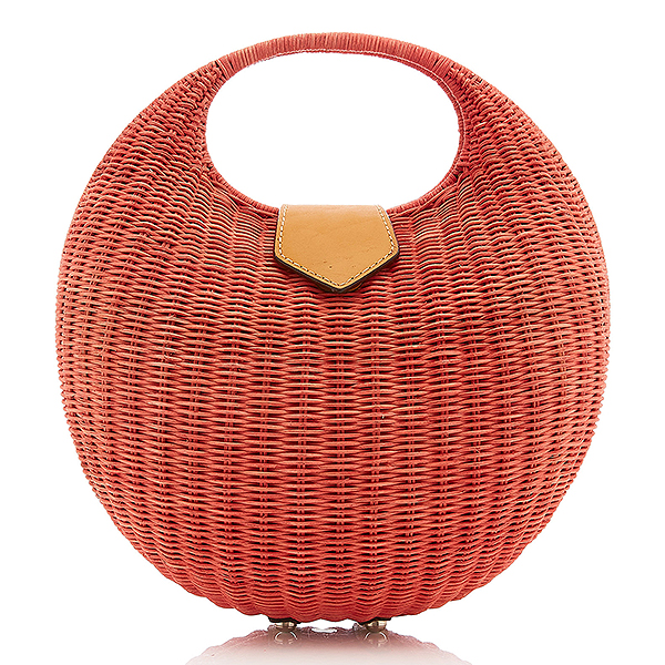Kayu wicker sepia tone straw tote with canvas-lined interior