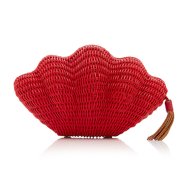 Kayu red woven straw shell compact clutch