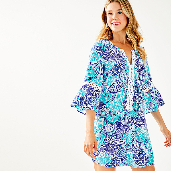 Blue printed tunic dress with front and sleeve lace details