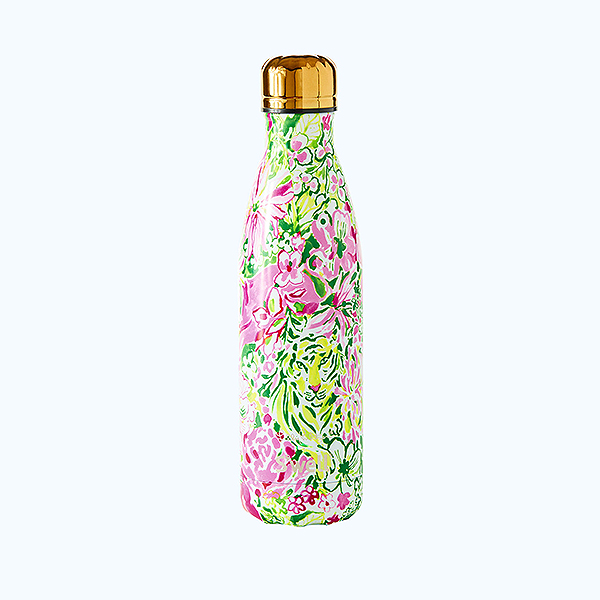 Tiger and floral, pink and green Lilly Pulitzer printed Swell bottle