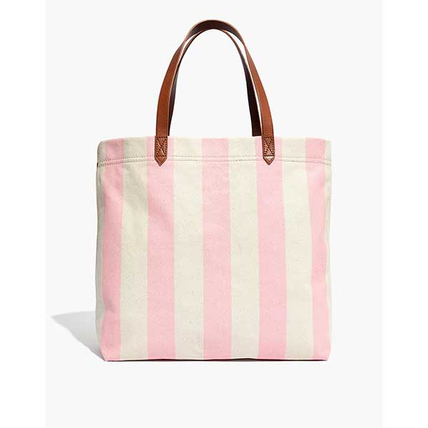 pink striped canvas tote with leather straps
