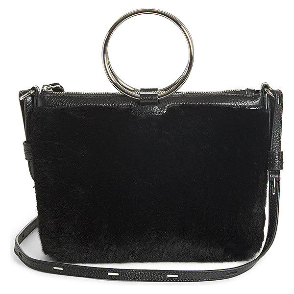 Black crossbody bag with shining silver ring top handles