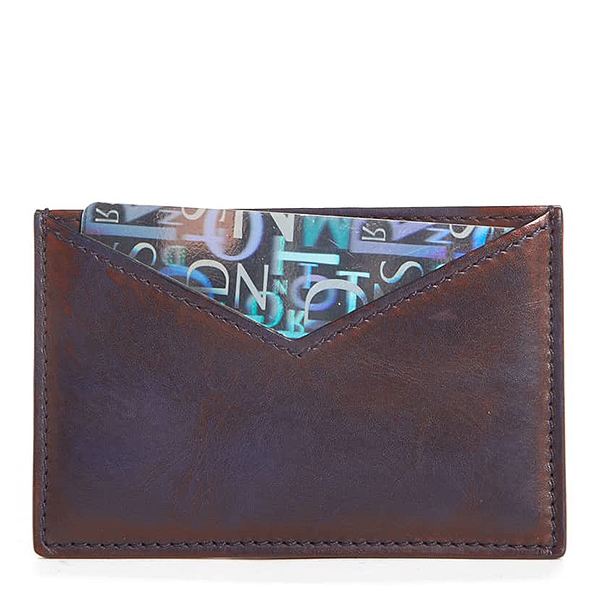 Brown leather Calvin Klein calfskin leather card case