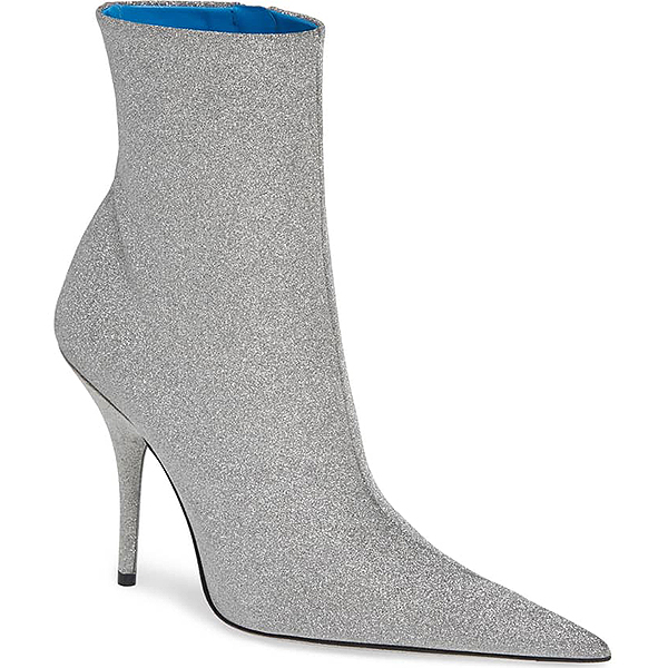 Silver stiletto heeled ankle Balenciaga gitter ankle bootie with sharp pointed toe