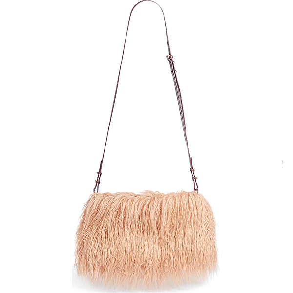 Faux shearling plush blush crossbody with a leather croc embossed strap