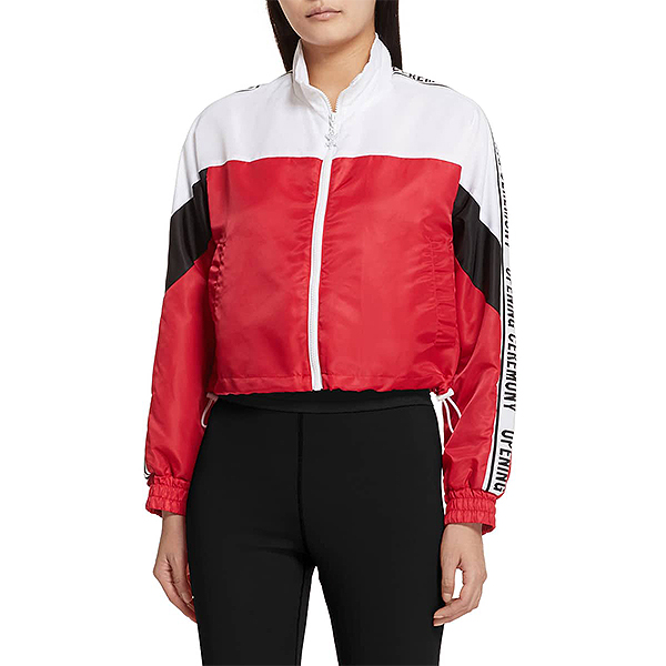 White, black, and red cropped Opening Ceremony retro sportswear jacket