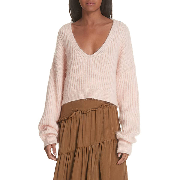 Dropped shoulder, slouchy fit, woo-blend blush knit sweater