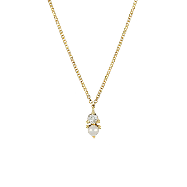 June Pearl birthstone necklace with gold chain
