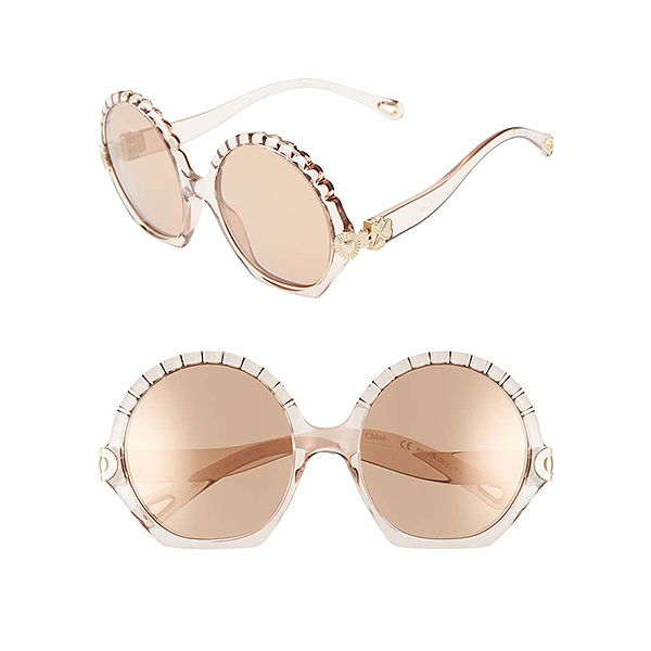 Round, dainty seashell hardware Chloe sunglasses in the shade turtledove