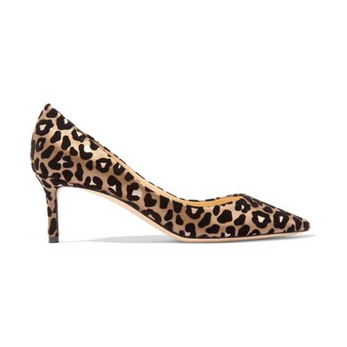 leopard print satin pumps