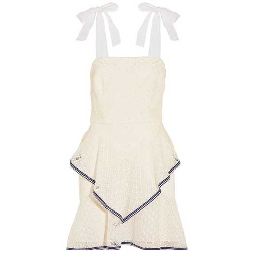 sleeveless white dress with ruffles and bow tied straps