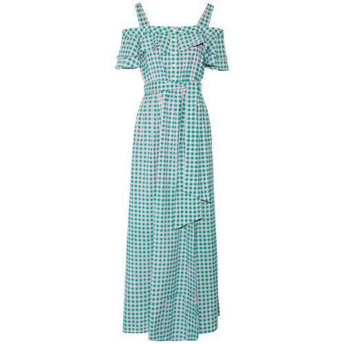 pink and green, gingham, maxi dress