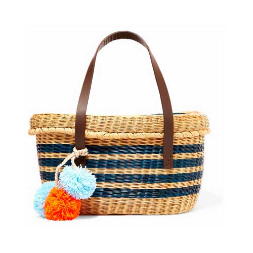 straw striped tote with pom-poms
