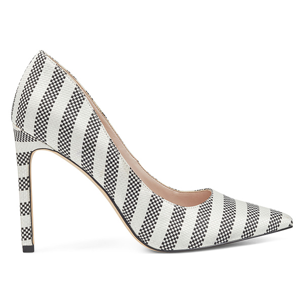 White and black striped woven pointy toe heels.