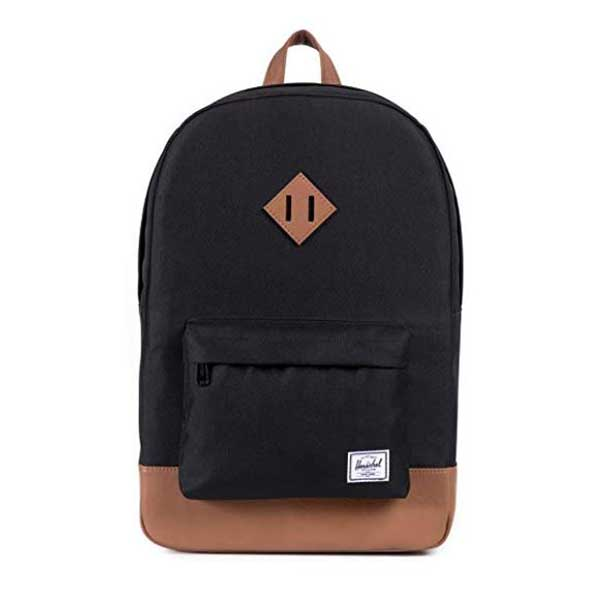 Black backpack with tan accents.