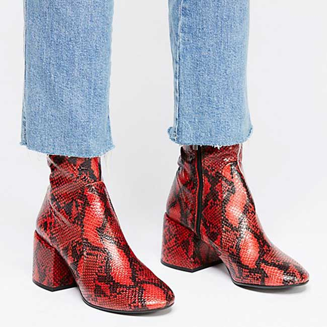 Red snake skin ankle boots.