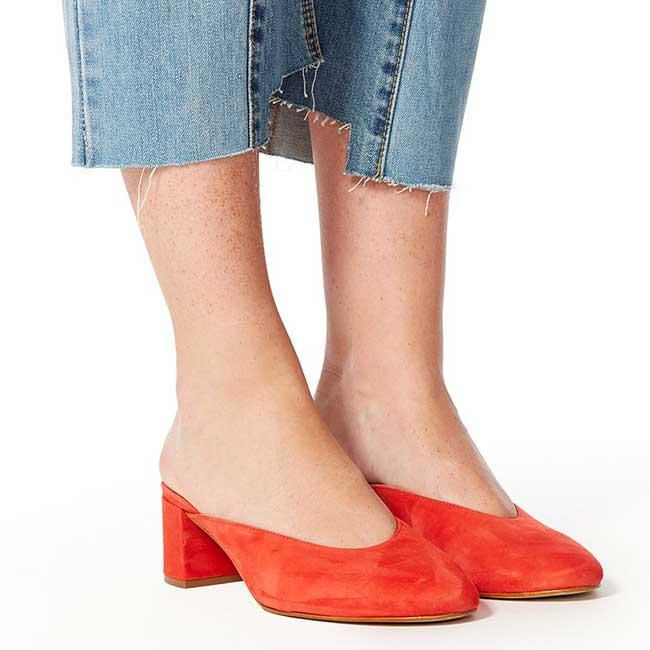 Red mules.