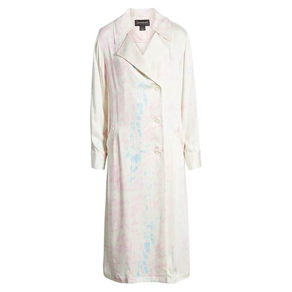 Something Navy white trench coat with pink and blue tie-dye
