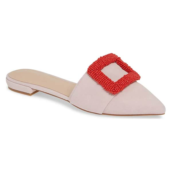 Something Navy pink mule with red buckle