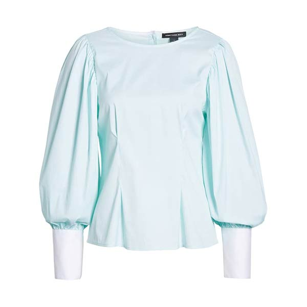 Something Navy aqua balloon sleeve blouse