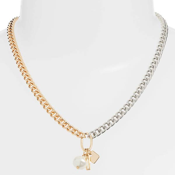 Something Navy silver and gold chain necklace