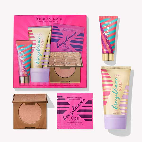 Sunless tanning and bronzing product set.