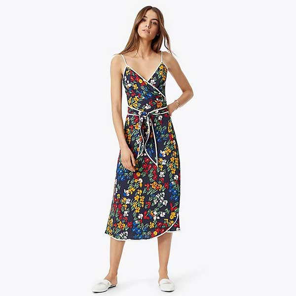 Floral and polka dot spaghetti strapped wrap dress.