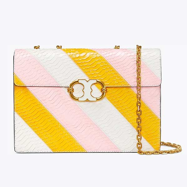 Pink, white and yellow chain strapped handbag.