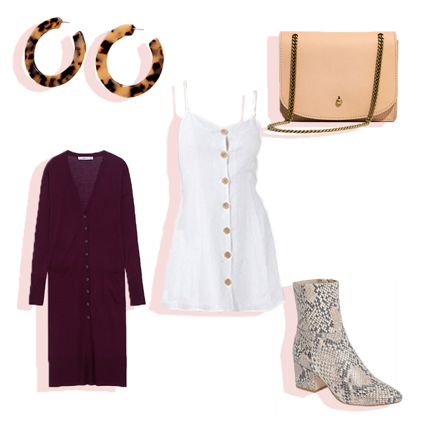 White dress, tortoise hoop earrings, snakeskin boots, blush crossbody bag, and maroon duster cardigan flat lay.