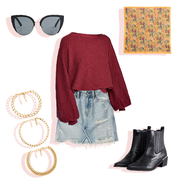 Red sweater, denim skirt, black large sunglasses, yellow floral printed bandana, and gold chain bracelets flat lay.