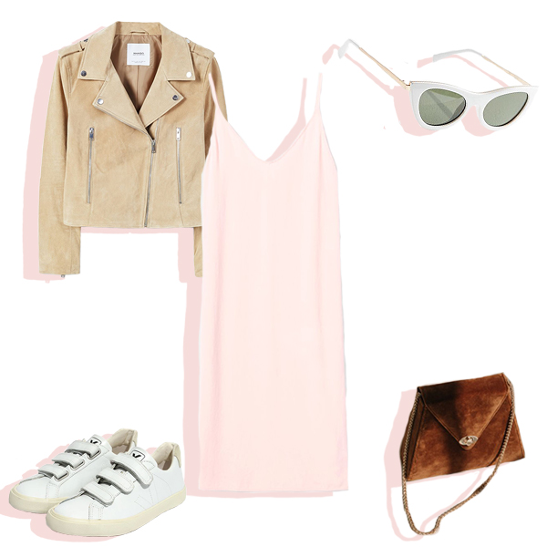 Pink slip dress, tan suede jacket, brown velvet bag, white tiny sunglasses, and white velcro sneakers flat lay.