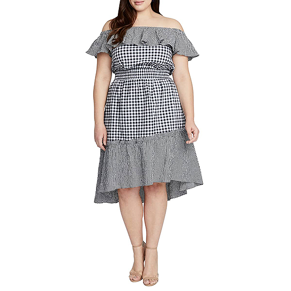 Nordstrom Sale, Rachel Roy off the shoulder black and white gingham dress