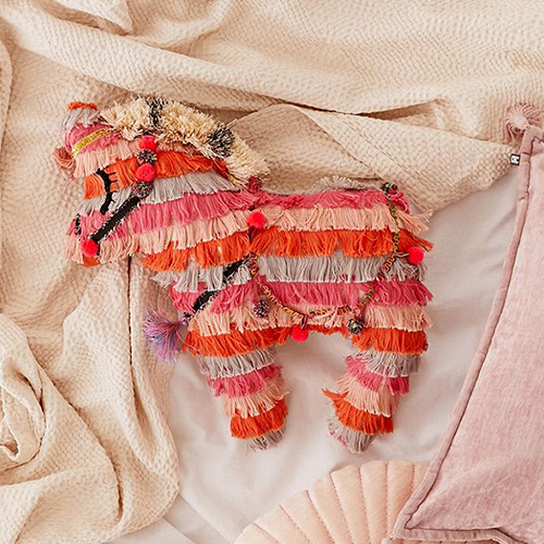 Fringe textured piñata pillow